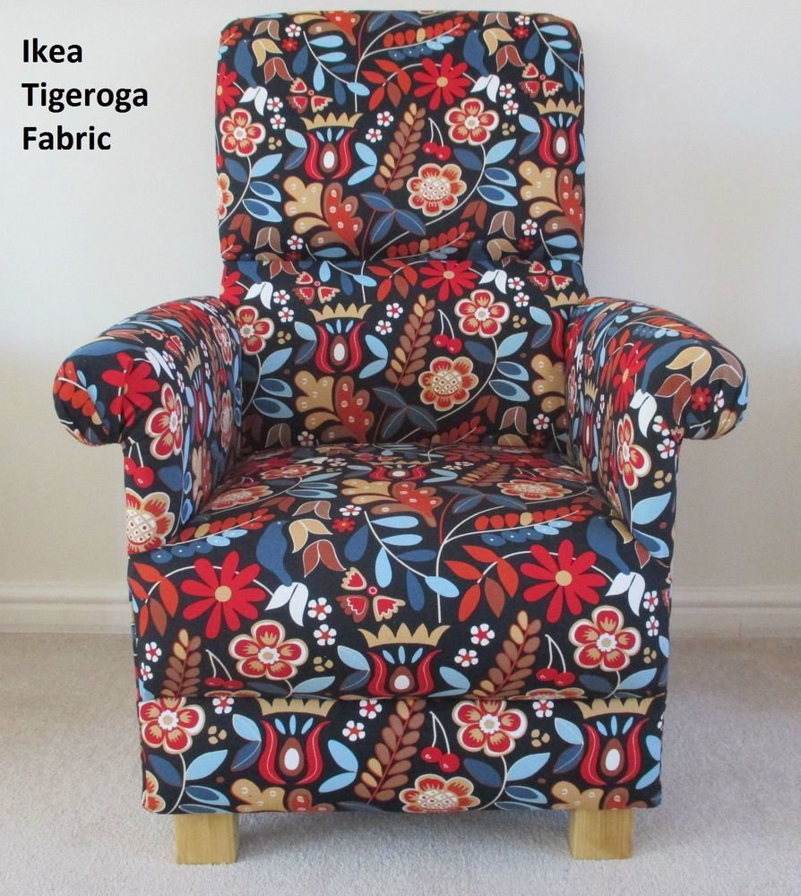 Ikea Tigeroga Fabric Adult Chair Retro Floral Accent Red