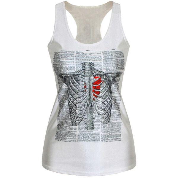White Punk Ladies Crew Neck Skeleton Heart Printed Tank Top (£6.90) ❤ liked on Polyvore