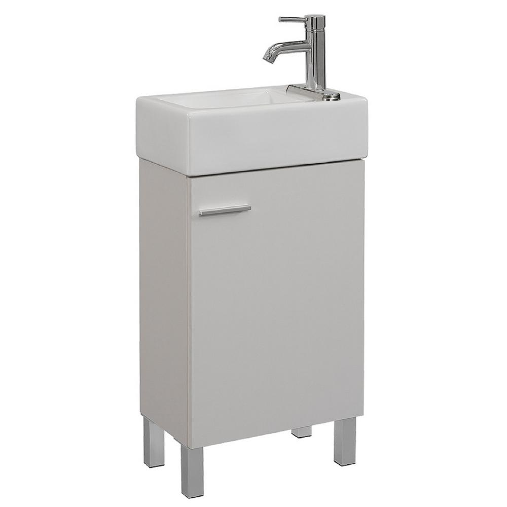 Runfine 18 In W X 11 In D X 34 In H Vanity In Soft White With Vitreous China Vanity Top In White And Basin Rfva0198c The Home Depot Single Bathroom