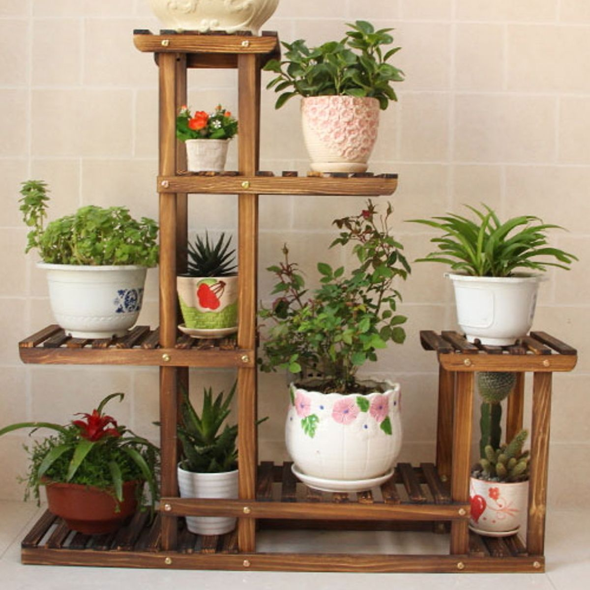 Indoor Outdoor Garden Bamboo Plant Flower Pot Stand With Wheels