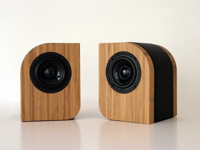 bamboo and leather computer and home theater speakers shop