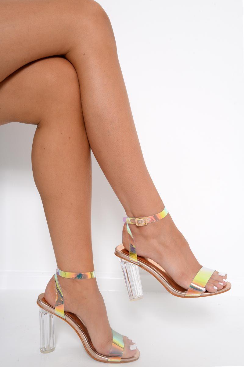 3eb5767e594 Rose Gold Iridescent Clear Strap Heels - Jenevy