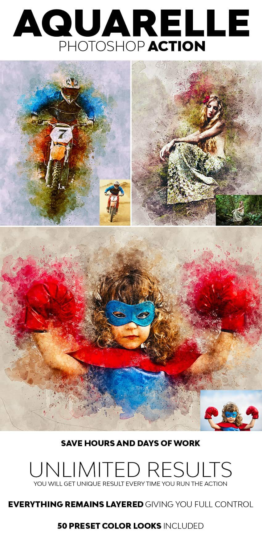 Aquarelle Photoshop Action Watercolor Photoshop Action