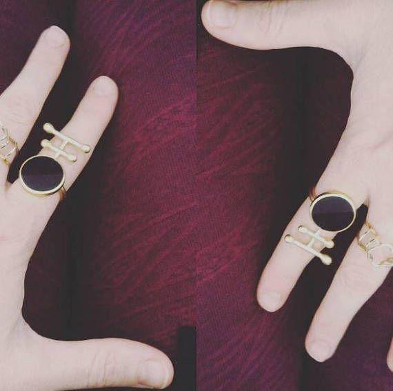 Big Onyx  ring in gold handmade statement jewelry
