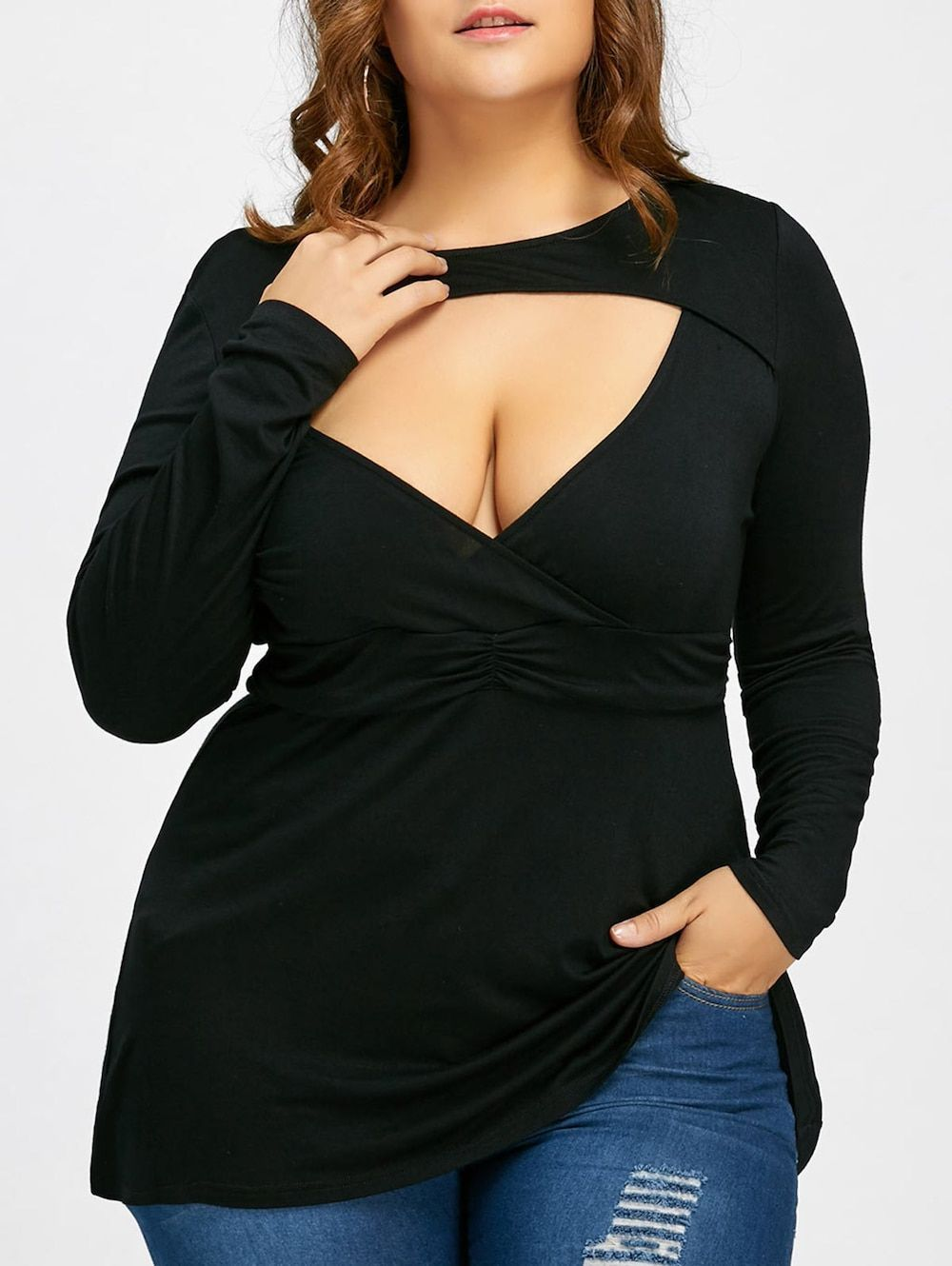 Long sleeve plus size cut out tshirt black xl in plus size t
