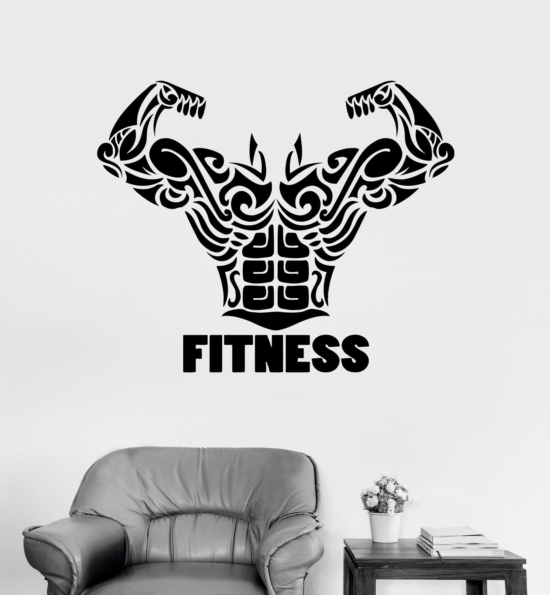 Vinyl Wall Decal Fitness Word Gym Bodybuilding Sports Stickers - Where to get vinyl stickers made
