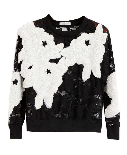 Fleece Flowers Hollow Out Lace T-shirt
