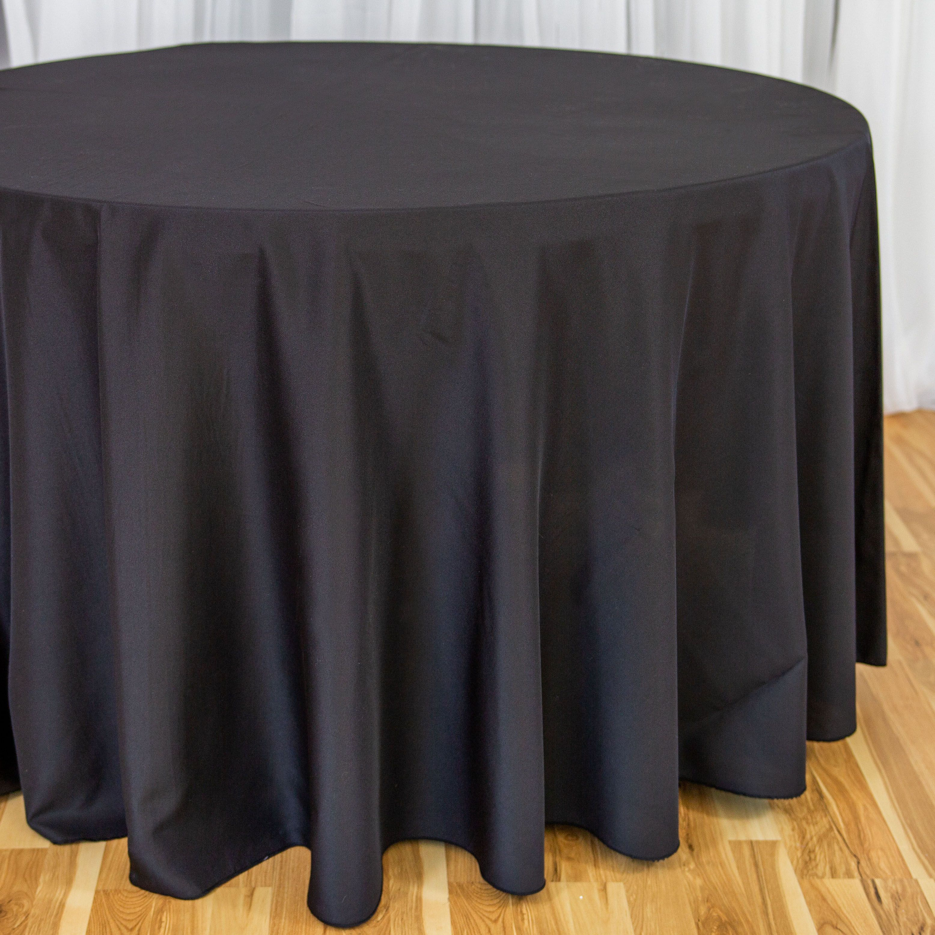 108 In Round Polyester Tablecloth Black Table Cloth Black Round Tablecloth Black Tablecloth