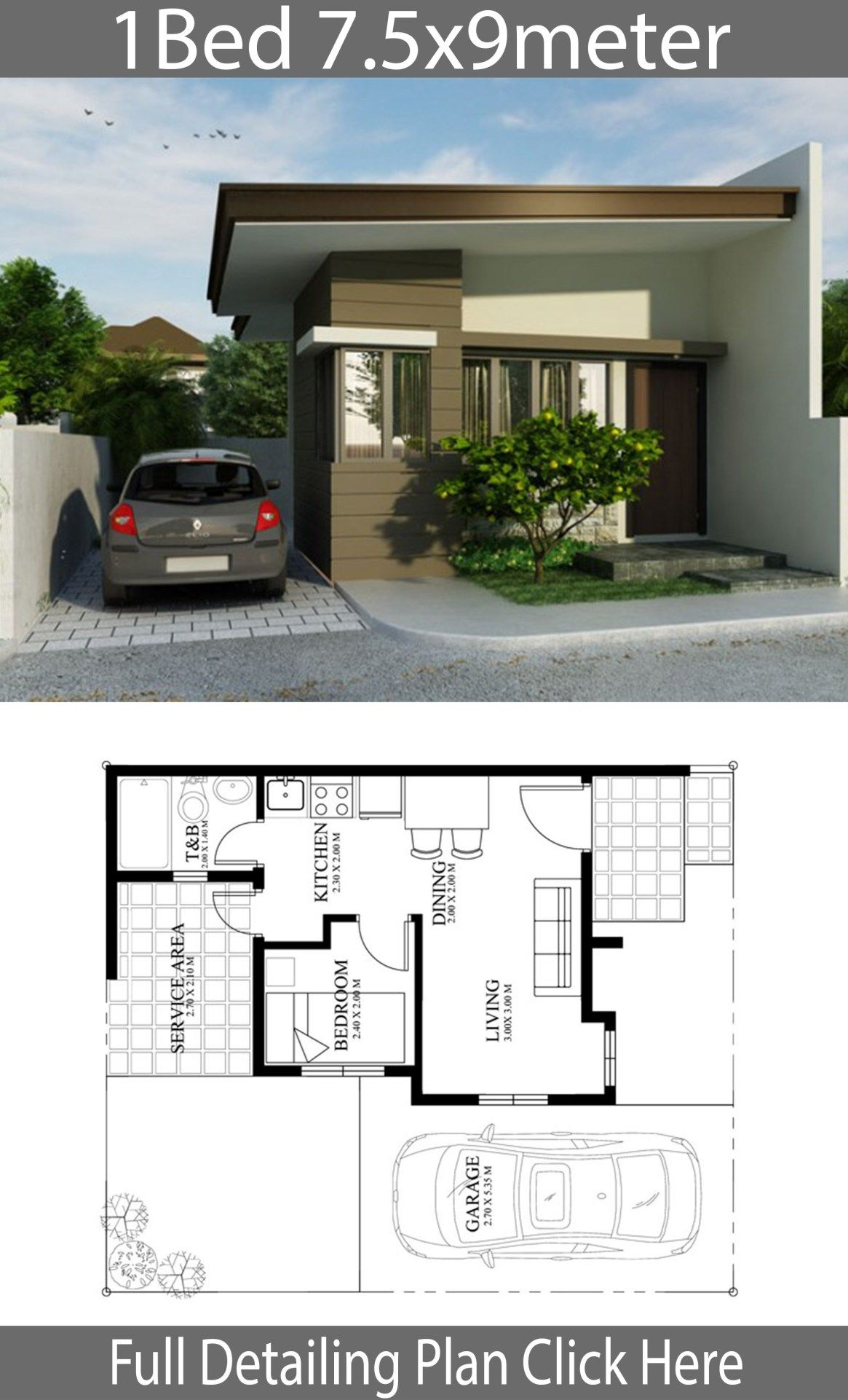 Small Home Design Plan 7 5x9m With One Bedrooms Home Design With Plansearch Small House Design Plans One Bedroom House Plans Home Design Plan