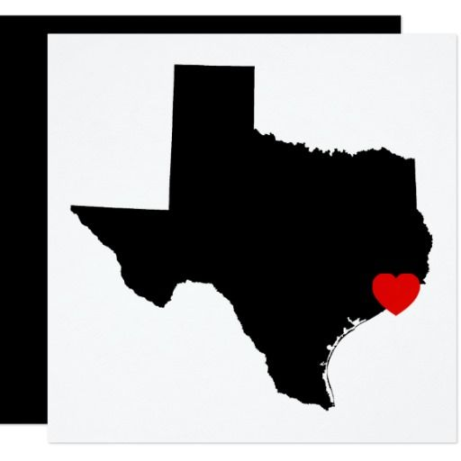 White and Black Texas Red Heart Wedding Card