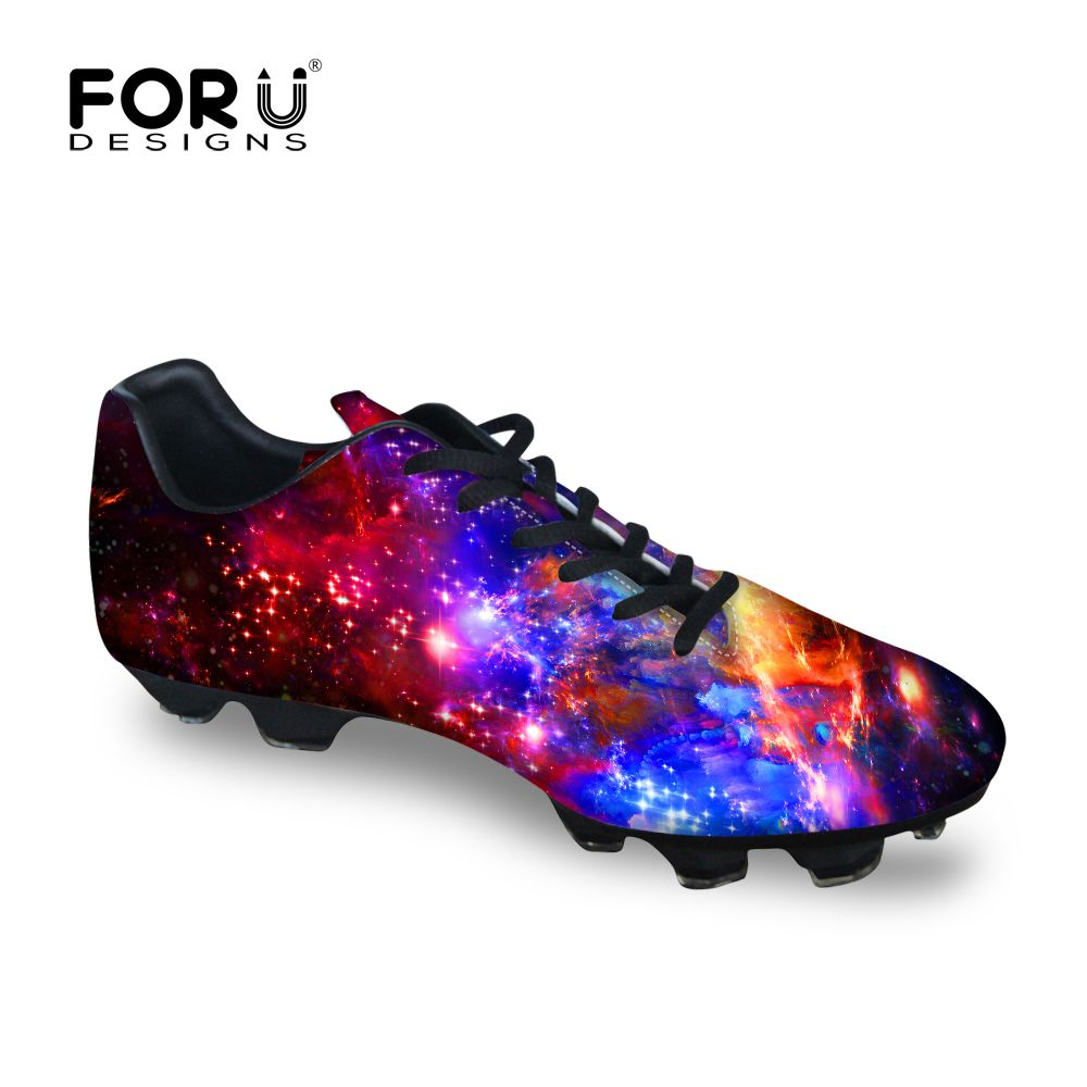 FORUDESIGNS Galaxy Indoor Training Sport Soccer Shoes for Adult Mens  Printing Professional American Football Sneakers Anti