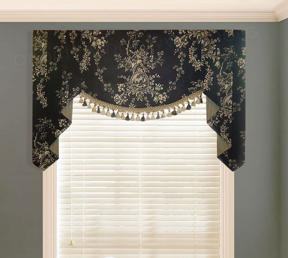 Board Mounted Flat Swag Valance With Handkerchief Jabots Valance