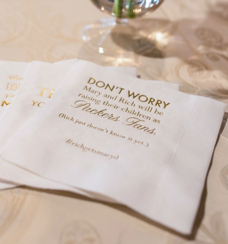 Wedding Customized Personalized Ivory Gold Cocktail Napkins Funny Saying About Bride And