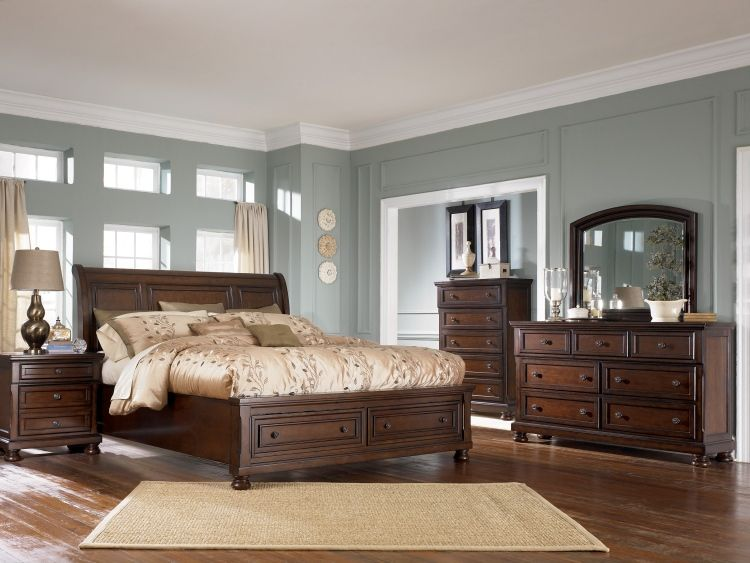 Burton Queen Size Storage Master Bedroom Set Brown Furniture Dark Wood Living Room