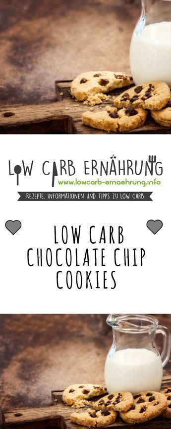 Low Carb Rezept für leckere Chocolate Chip Cookies mit wenig Kohlenhydraten und ohne Zucker. Zuckerfreie Low Carb Schokokekse - einfach und schnell zum Nachbacken. Perfekt zum Abnehmen. #lowcarbdesserts