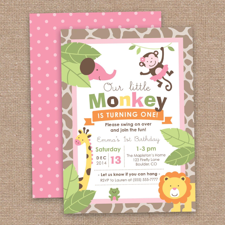 First Girl Birthday Monkey & Jungle Animals Invitation, Safari, DIY ...