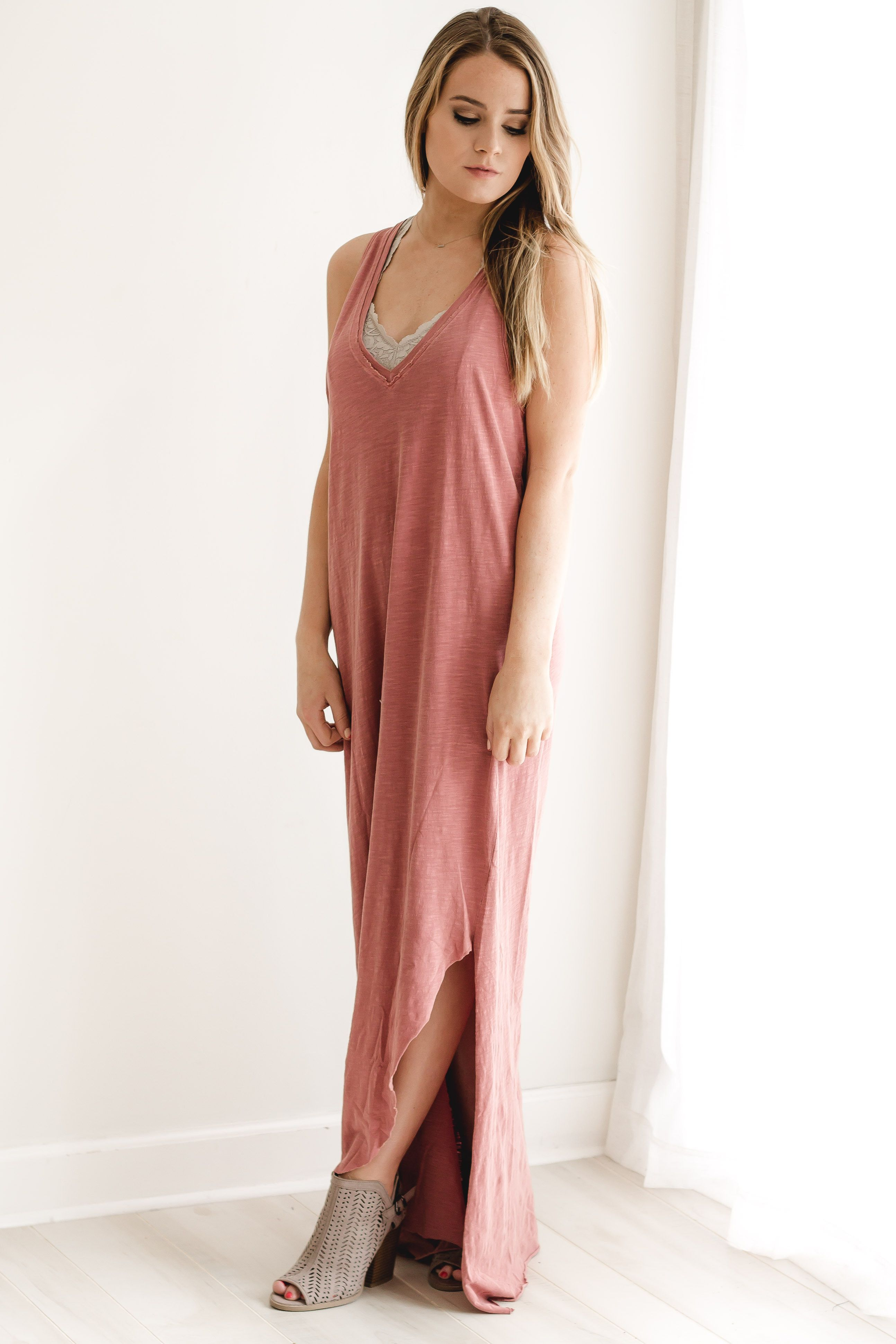 Side slit rose maxi dress bitqhutb spring