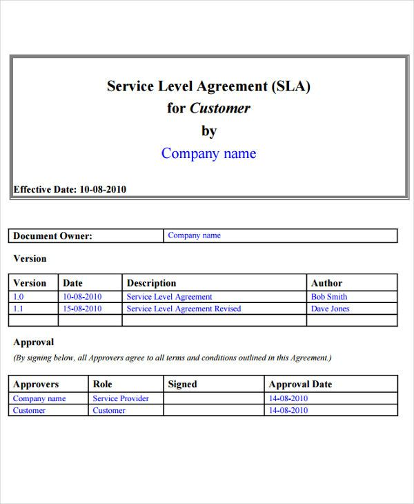 9+ Service Level Agreement Templates   Free Word, PDF Documents Download |  Free U0026  Agreement Template Free