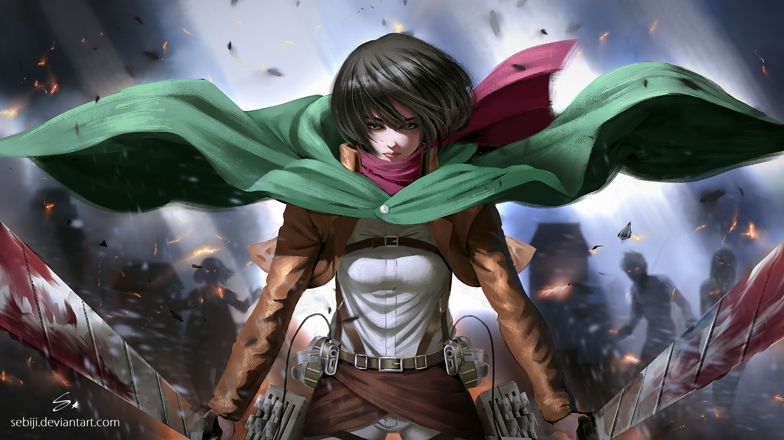 Anime Attack On Titan Mikasa Ackerman Hd Wallpaper 2500x1406 Attack On Titan Fanart Anime Attack On Titan Art