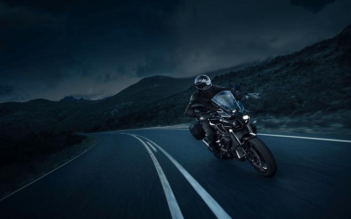 Lataa kuva Yamaha MT-10 Edition Tourer, 4k, 2017 polkupyörää, yö, ratsastaja, uuden MT-10, Yamaha