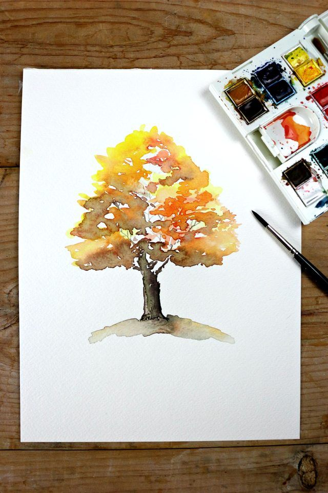 Easy Autumn Tree Watercolor Painting Tree Watercolor Painting