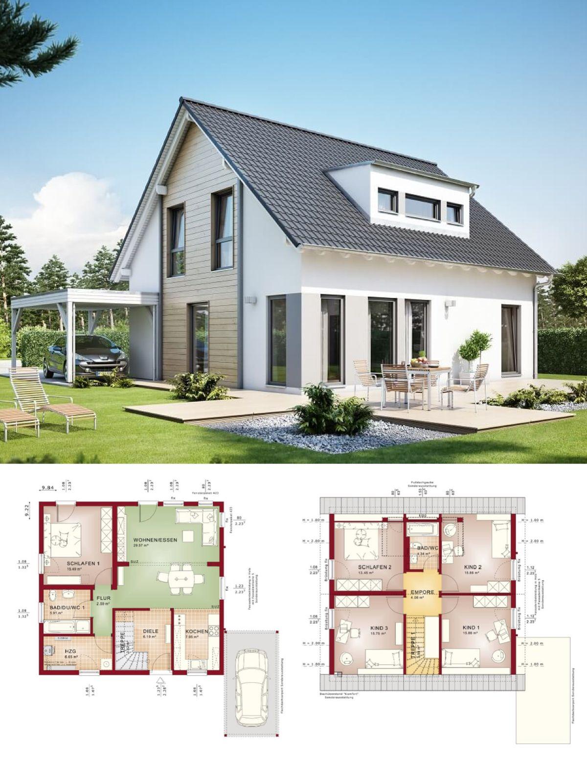 Einfamilienhaus Neubau SatteldachArchitektur mit Gaube