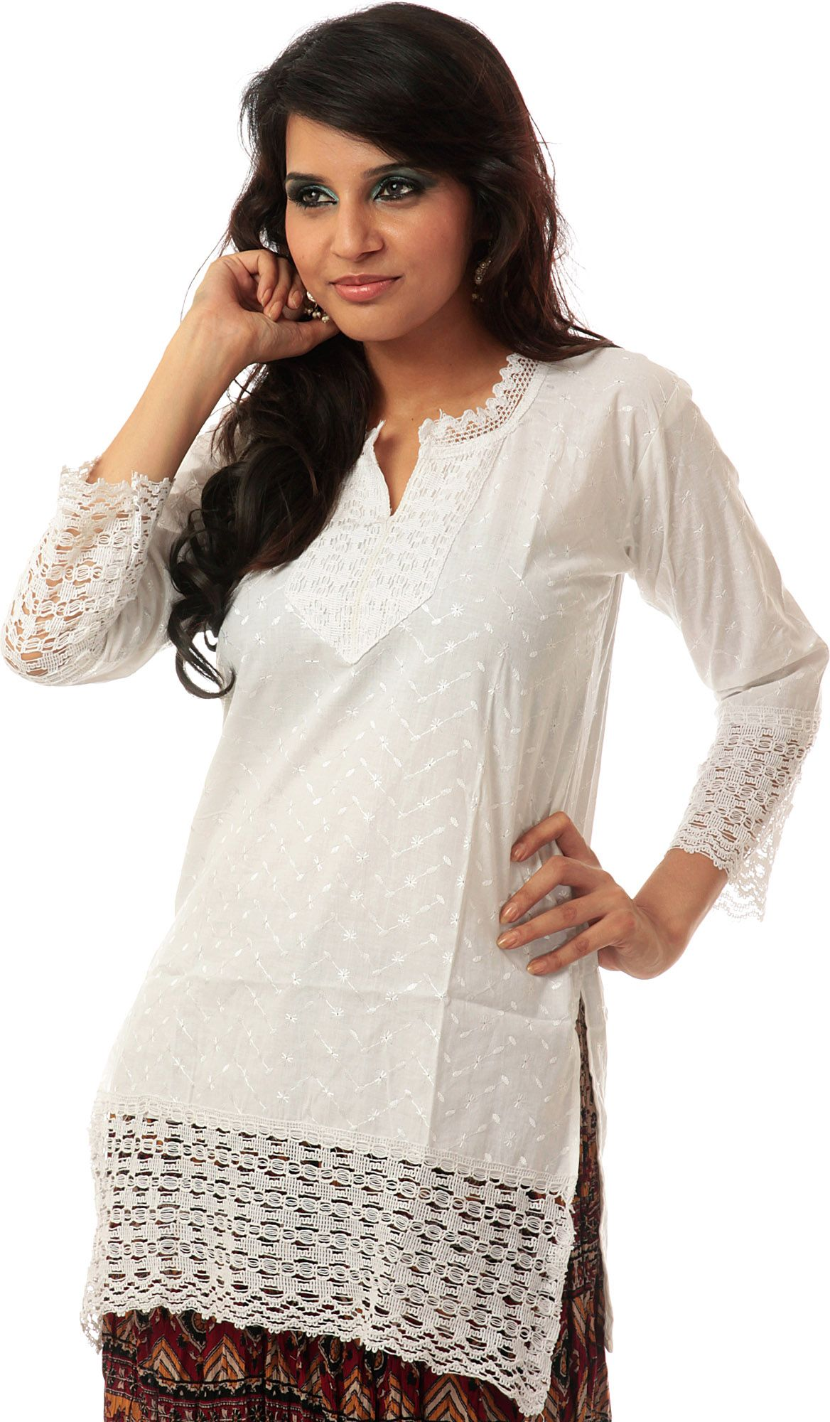 White Kurti with Lukhnavi Chikan Embroidery and Lacework