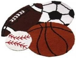Boy room sports theme rug - matches one of my other pins :) sports nursery decorations