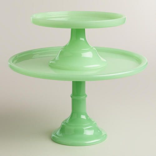 In an ethereal opaque green hue, this glass pedestal boasts a classic cake stand silhouette that's perfect for showcasing your latest kitchen creation. >> #WorldMarket Spring, Easter Baking