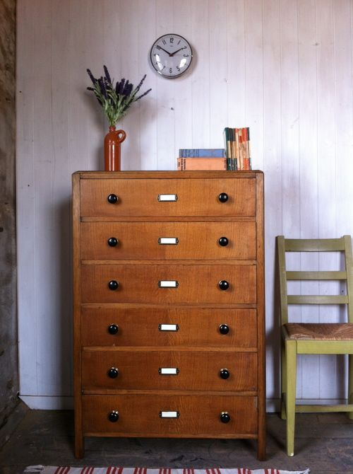 Leith Cabinet Works: Vintage Tallboy Chest Of Drawers. This Oak Veneered  Chest From The 1950u0027s Features Turned Ebony Knobs And Brass Card Frames.