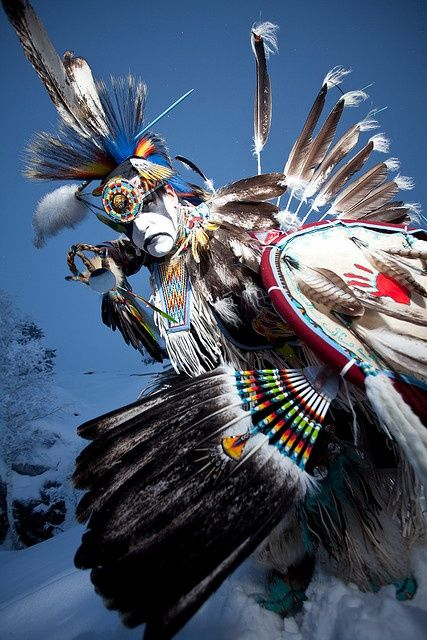 Aboriginal dancer Daniel Stevens. Photographed on Vee Lake, Northwest Territories by Dave Brosha.