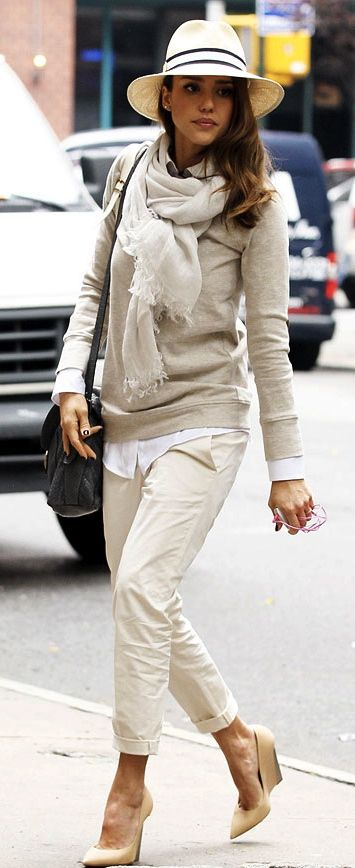 This classy lady knows how to rock the neutrals! Taupes, creams, and whites with little black accents. Great textures here, and love the layering too.