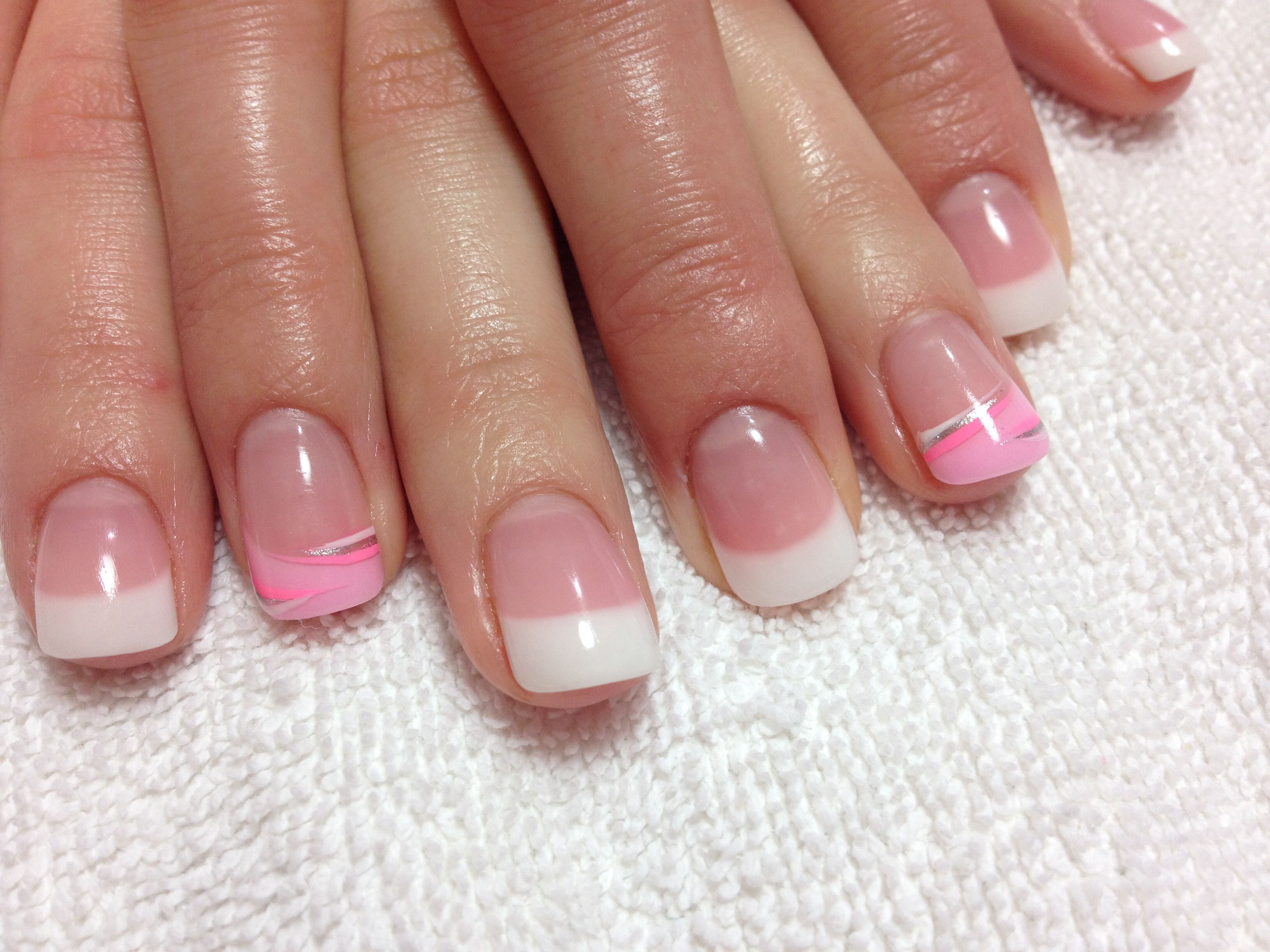 Pastel pink and white gel with pink, silver and white polish#beauty#trends#summer#spring