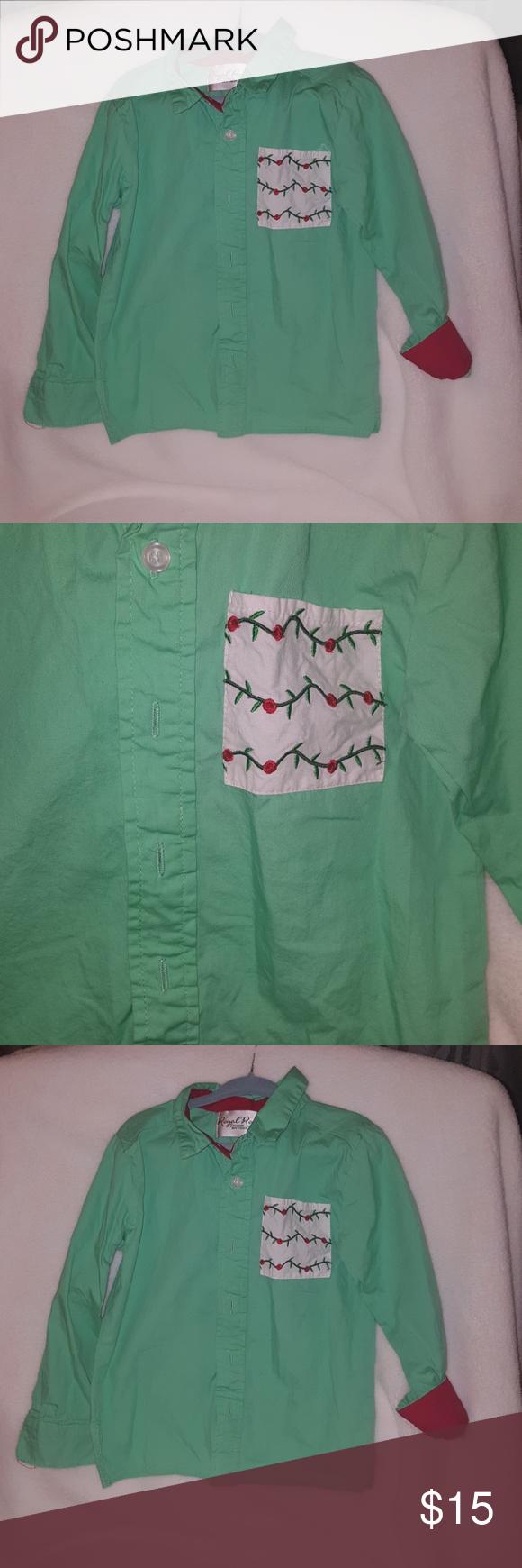 Boys light green Christmas dress shirt  Red accents Dress shirts