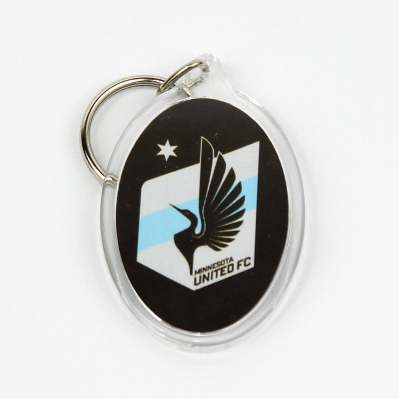 Minnesota United FC logo keychain. Two-sided keychain features a full-color  logo inside clear plastic. Keychain is approximately 1½ inches wide by 2  inches ... 16558b0ded21a