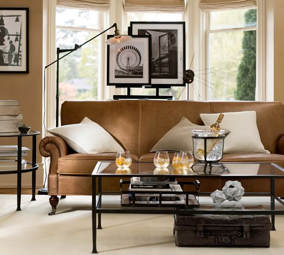 Tanner Round End Table Pottery Barn In 2020 Vintage Style Leather Sofa Leather Sofa Table Decor Living Room