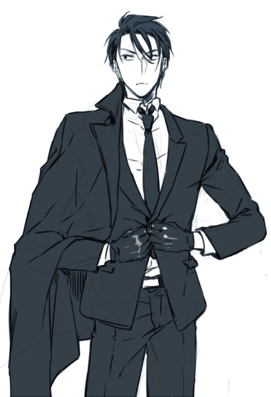 Hak Solo Bw Modern Au Anime Suit Anime Guys Anime Guy Blue Hair