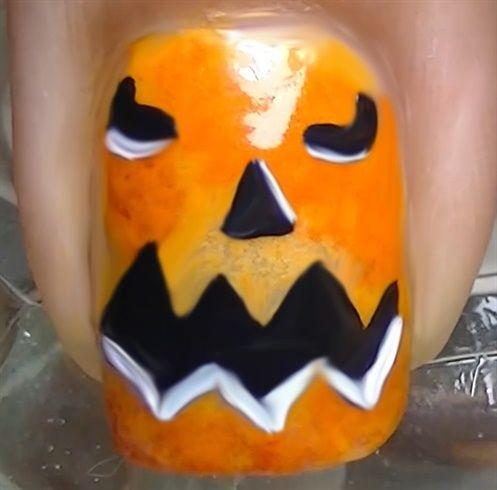 DIY Pumpkin Face ~ Halloween Nail Art by madjennsy