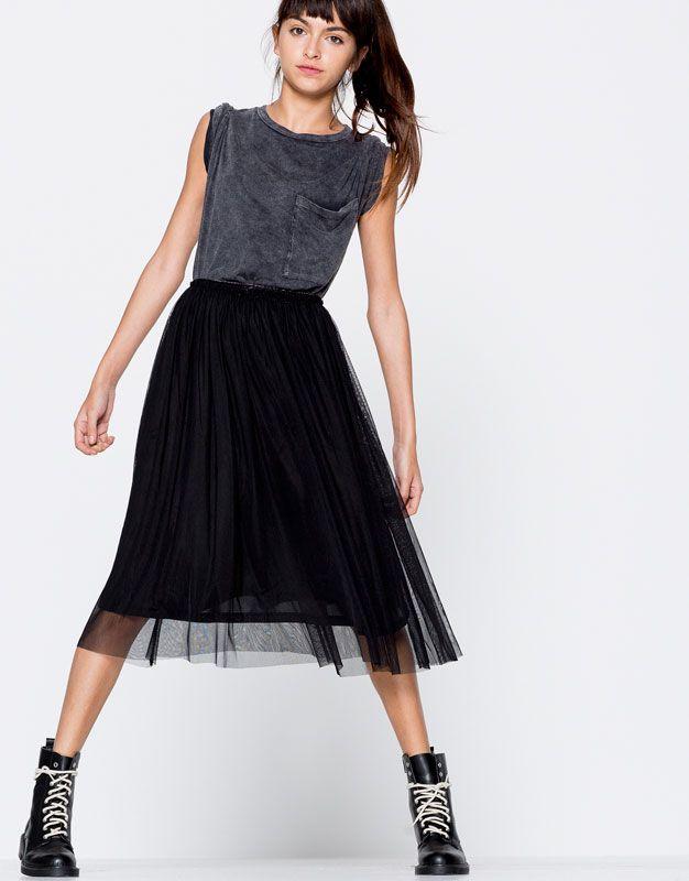03d012a21bb6 Tulle midi skirt - Skirts - Clothing - Woman - PULL BEAR Turkey ...