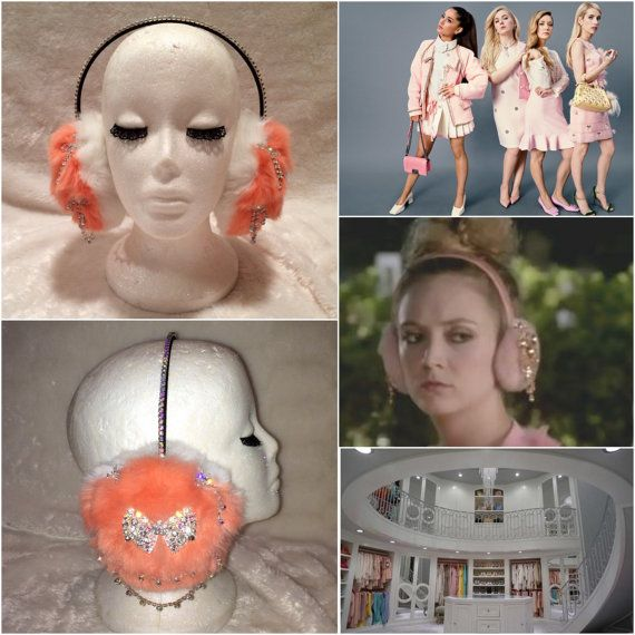 Scream Queens Chanel 3 Inspired Peach Fur Crystal Rhinestone
