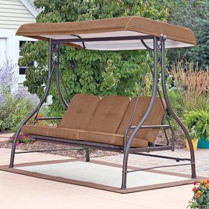 Mainstays Lawson Ridge Converting Outdoor Swing Hammock Brown Seats 3 Patio Swing Canopy Outdoor Patio Swing Patio Swing
