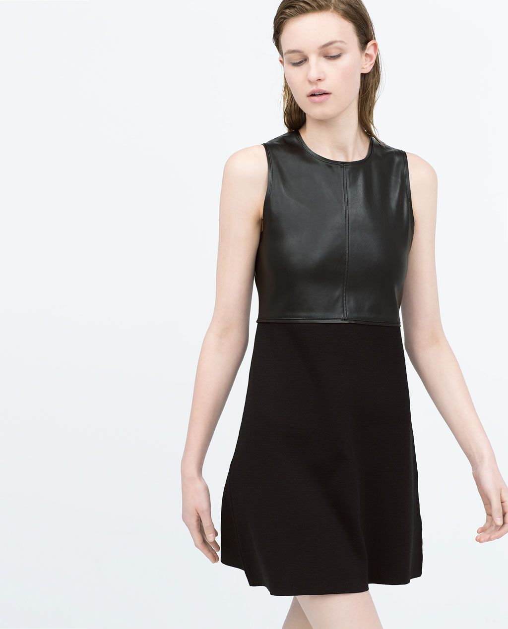 Image of faux leather combination dress from zara