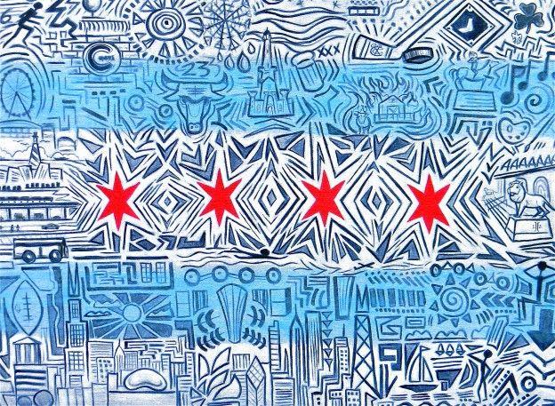 Chicago Flag Graffiti Art Chicago Flag Art Chicago Street Art Chicago Art