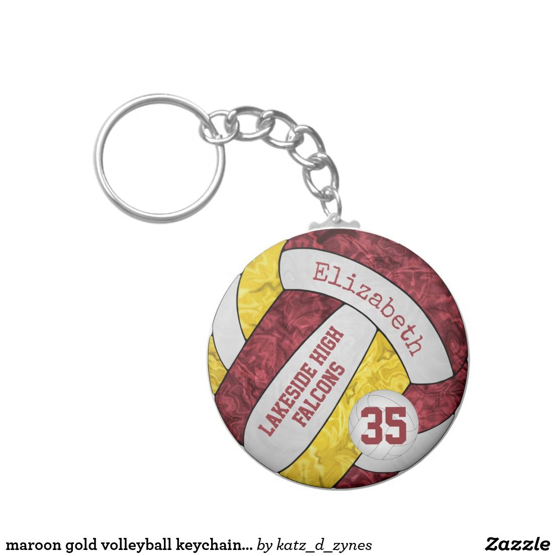 Maroon Gold Volleyball Keychain W School Team Name Zazzle Com Keychain Team Gifts Team Names