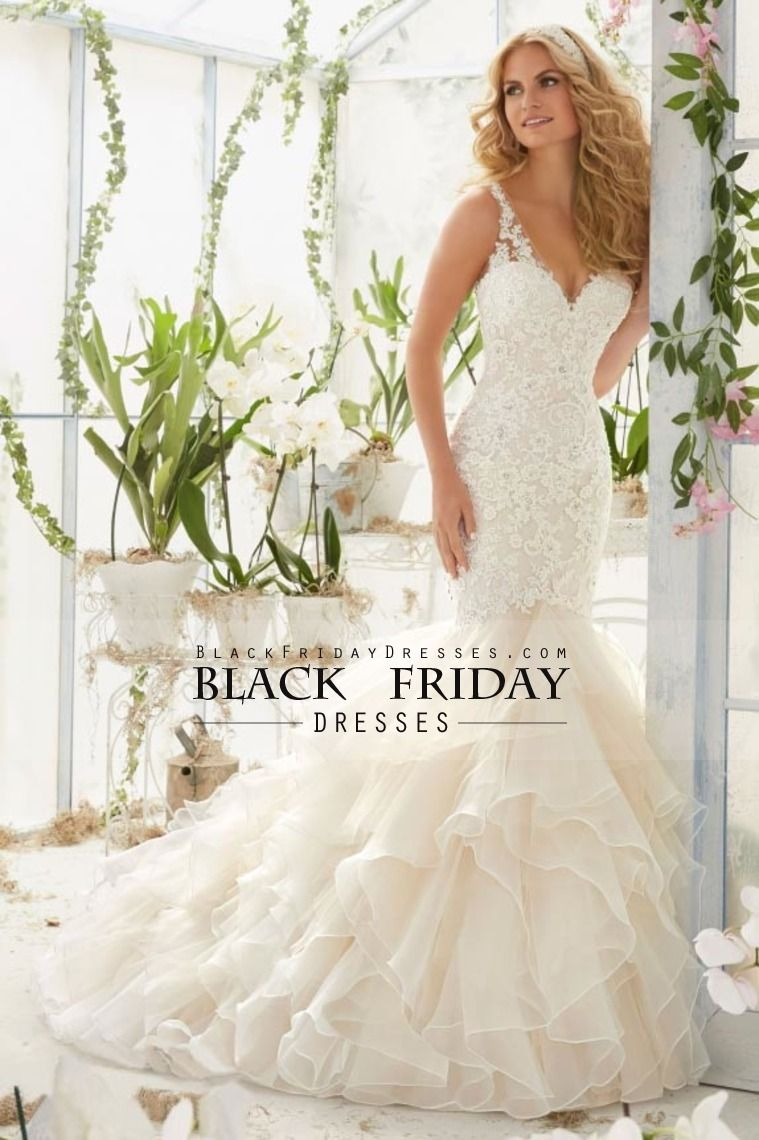 2016 Wedding Dresses Mermaid/Trumpet V-Neck Court Train Organza With Applique