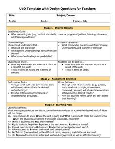 Understanding By Design  Page Template Doc Understanding By Design Template Setting Instructional Outcomes Understanding B