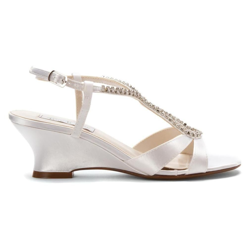 Bernie By Touch Ups Wedding Shoes In White Are Wedge Sandals Designed With Beautiful Rhinestone T