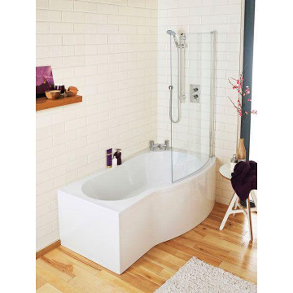 Ceramica P Shaped Shower Bath Bundle 1700mm Right Hand