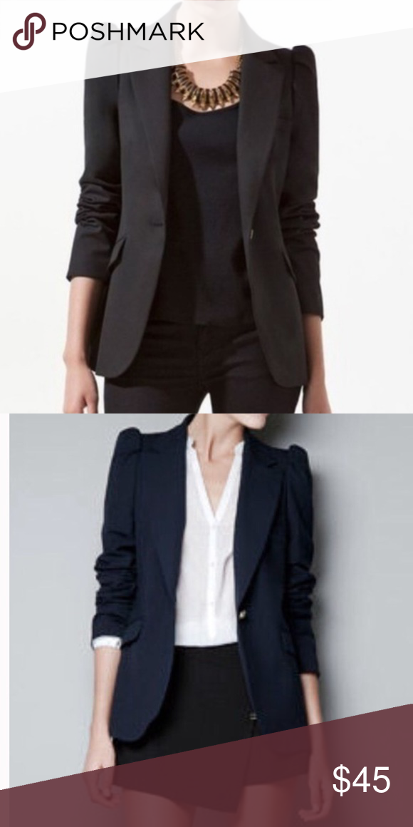 a992af89 Zara One Button Blazer Puff Shoulder Size XS Zara Woman statement shoulder  blazer jacket Fitted style with button front fully lined Sz XS Flat Lay ...