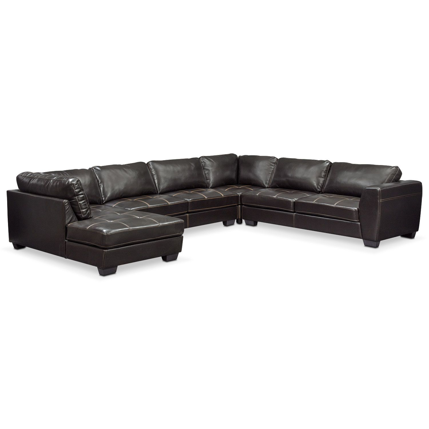 Best Santana 4 Piece Sectional With Chaise Furniture Leather 400 x 300
